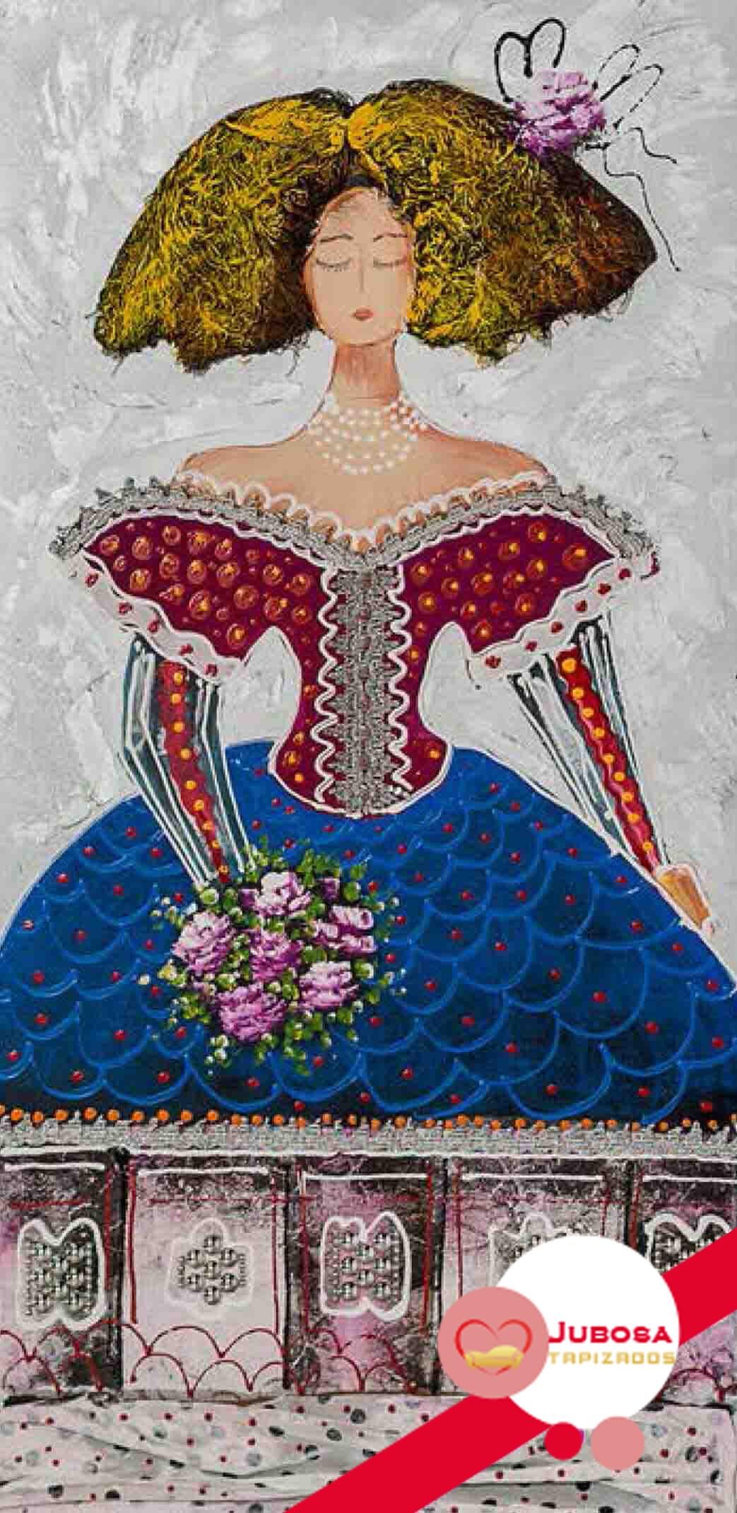 cuadro menina flores tapizados jubosa